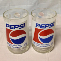 Pepsi Soda Pop Bottle Tumbler Glasses. Recycled Glass Bottles. Novelty Glasses.