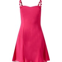 Dark Pink Daisy Strap Skater Dress