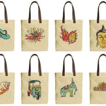Bangkok, Thailand Beige Printed Canvas Tote Bags Leather Handles WAS_30