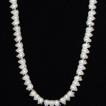 Trifari Faux Pearl Teardrop Necklace