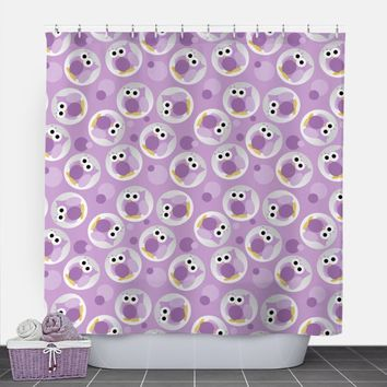 Owl Shower Curtain - Funny Cute Purple Owl Pattern - 71x74 - PVC liner optional - Made to Order