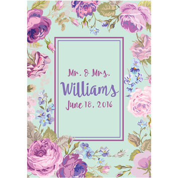 Light Blue & Purple Flower and Name - Wedding Wine Labels