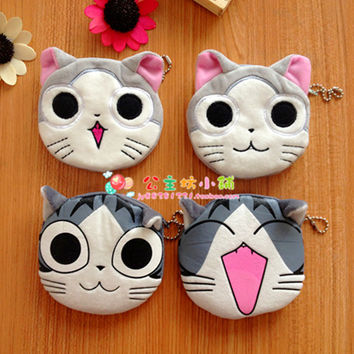 Cute Mini Coin Purse Wallet Keys Case Kids Girls Plush Lucky Cat Face Expression Changing Coins Bank Buggy Bag Small Pouch