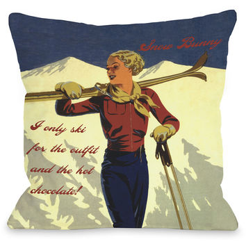 """Snow Bunny Vintage Ski"" Indoor Throw Pillow by OneBellaCasa, 16""x16"""