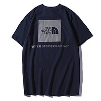 The North Face Fashion New Letter Print Women Men Sports Leisure Top T-Shirt Dark Blue