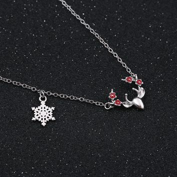 Shuangshuo 2017 Anime Antler and Snowflower Necklace for Women Birthday Gift Animal Horn Chain NecklacesLong Chain boho Jewelry
