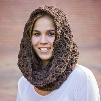 Chunky crochet cowl, hooded cowl, crochet hooded scarf, chunky crochet scarf, loop scarf, circle scarf