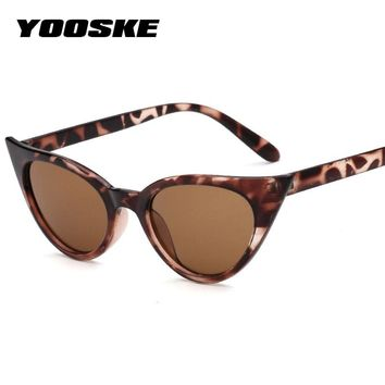 YOOSKE 2018 Cat Eye Sunglasses Women Retro Small Size Cateye Sun glasses Transparent Lens Female Vintage Glasses Frame