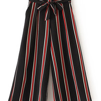 Vertical Striped Wide Leg Pants With Self TieFor Women-romwe