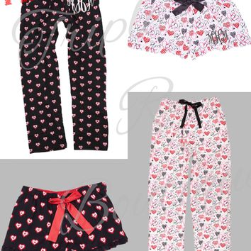 Valentines Love Hearts Print Lounge Pants/PJ's & Itty Bitty Shorts - Adult & Youth