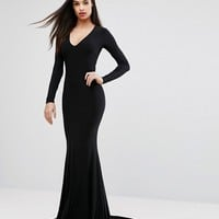 Club L Plunge Neck Maxi Dress with Fishtail at asos.com