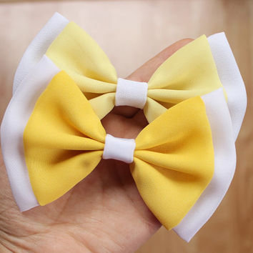 """4.75"""" yellow hair bow, chiffon hair bow, light yellow hairbow, light olive green, light dusty green, two tones hair bow, women hair bow, bow"""