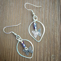 Purple butterfly Earrings, purple crystals, silver, wire wrapped, dangle and drop, gifts for her, summer, fashion, butterfly charm