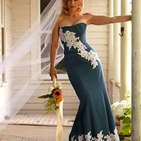 [128.99] Marvelous Satin Strapless Neckline Mermaid Wedding Dresses With Lace Appliques - dressilyme.com