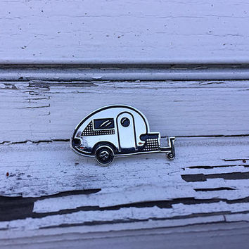 Tiny Trailer Enamel Pin, Tab Trailer, Happy Camper, Teardrop, Camping Pin