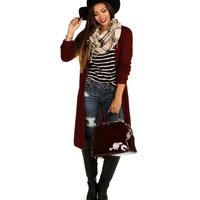Sale-burgundy Flyaway Back Long Cardigan