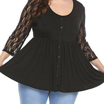Plus Size Casual T Shirt 34 Sleeve Round Neck Loose Tunic Tops Lace Patchwork Blouse with Button Trim
