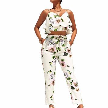 8129 New arrive best quality 2017 casual jumpsuit summer sleeveless print jumpsuit sexy women jumpsuit