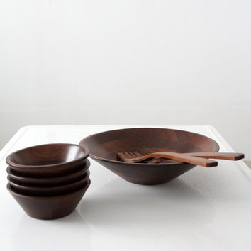 mid century bowl set, vintage serving bowls with utensils