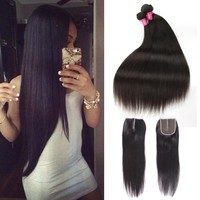 Beauty Grace Brazilian Straight Hair Weave Bundles With Closure 3 Bundles Non Remy Human Hair Bundles With Closure Middle Part