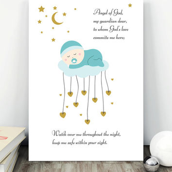 Nursery Decor,  Angel of God, Prayer for child, Printable Nursery, Wall Art Christian Decor, Prints for baby boy, Christening Baptism Gift