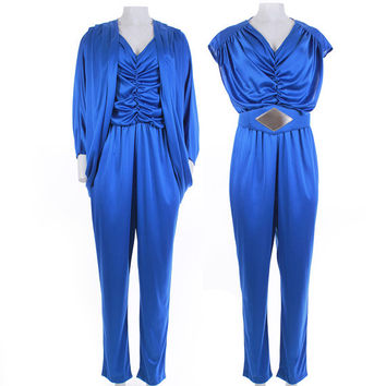 Vintage Jumpsuit Jacket Set Shiny Blue 1980s Vintage Women's Size Small-Med / Cocoon Batwing Liquid Look Clothing 1970's Disco Glam USA Made