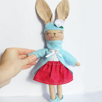 Easter Animal Stuffed Bunny Rabbit rag doll Stuffed Animal Plush Bunny toy handmade Animal Baby doll red white blue