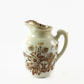 Vintage Brown Transferware Pitcher, Small Ironstone Pitcher, Emery Rutland, Aesthetic Design, Elk Deer Stag