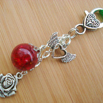 Romantic Red Rose Winged Heart Fried Marble Keychain