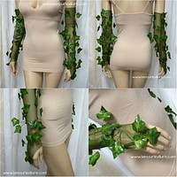 Poison Ivy Fingerless Mesh Gloves Costume Rave Bra Cosplay Halloween