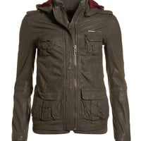 New Womens Superdry Unique Sample L65 Leather Jacket Size Small Mouse