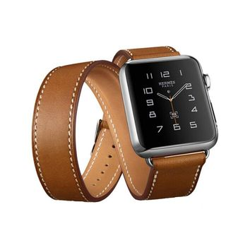 Genuine Leather watchband watch band strap for hermes apple watch 42mm/38mm bracelet clasp bucklel eather strap watch men brown