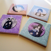 Set of 4 *** Black Butler *** inspired by / fan art collectible Drink Coasters Ceramic Tiles High Quality from Italy Anime Manga Japan