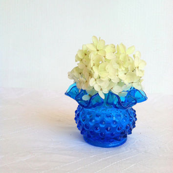 Vintage Blue Hobnail Fenton Vase/Bridal Wedding Gift/Cottage Style/Something Blue.....