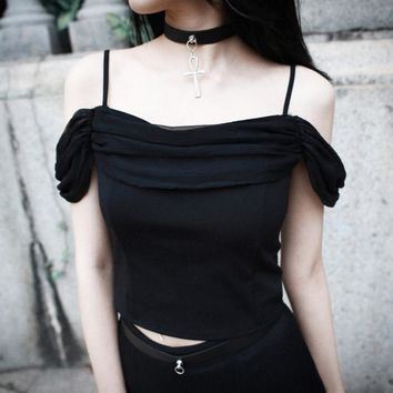Gothic Camis Black Summer Women Tops Slim Fashion