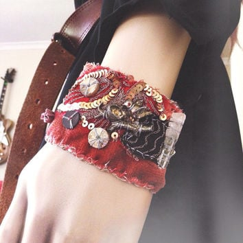 Salvaged textile cuff with raw quartz: reclaimed fabric cuff, vintage textile cuff, velvet cuff, embroidered cuff, embellished cuff
