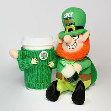 Irish coffee cozy. St.Patrick's gift. Leprechaun. Irish gift. Cup sleeve. Irish mug sweater. Travel mug cozy. Mug sweater. Coworker gift.