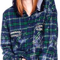 Bess NYC Studded Flannel Bleach Hoodie Plaid