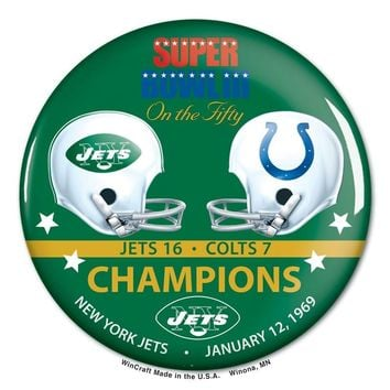 NEW YORK JETS INDIANAPOLIS COLTS SUPER BOWL III CHAMPS ON THE FIFTY BUTTON
