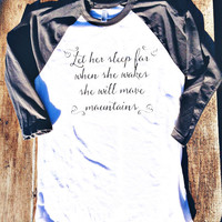 Let her sleep - American Apparel Baseball Shirt
