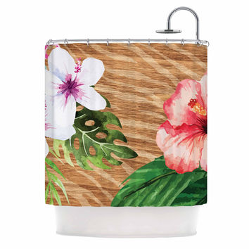 "NL designs ""Vintage Tropical Jungle "" Pink Floral Shower Curtain"