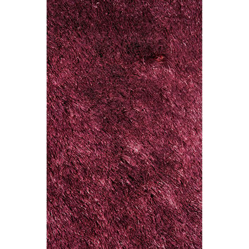 LA Rugs Silky Shag Collection Burgundy Area Rug