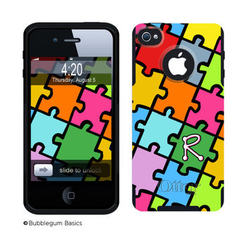 OTTERBOX COMMUTER iPhone 5 5S 5C 4/4S Case Custom Jigsaw Puzzle Multi-color Pattern Name Initial Personalized Monogram