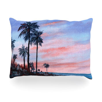 "Rosie Brown ""Florida Sunset"" Pink Blue Oblong Pillow"