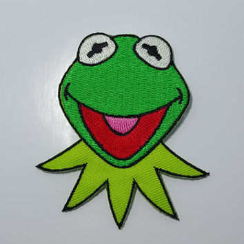 vintage Kermit the Frog Muppet embroidered iron on sew on patch