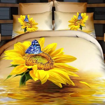 Cotton Butterfly Sunflowers 3D Bedding set Doule/Queen King Size For Kids Adults Boho Duvet Cover Set Bed sheet Pillowcase Set