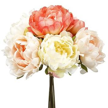 "Coral and Blush Peony Silk Flower Bouquet - 12"" Tall"