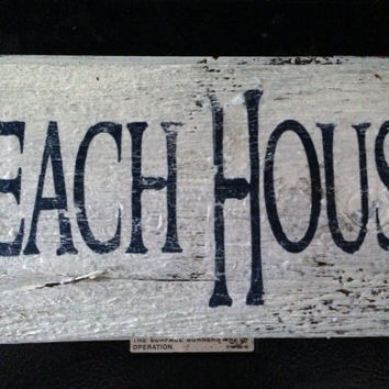 Beach House Barnwood Sign 12x5 by TheRavagedBarn on Etsy