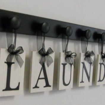 Custom Laundry Room Wall Decor Personalized Hanging Letters includes Wooden 7 Hook Hangers and Letters LAUNDRY in Black