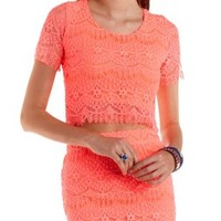 Neon Coral Neon Lace Crop Top by Charlotte Russe